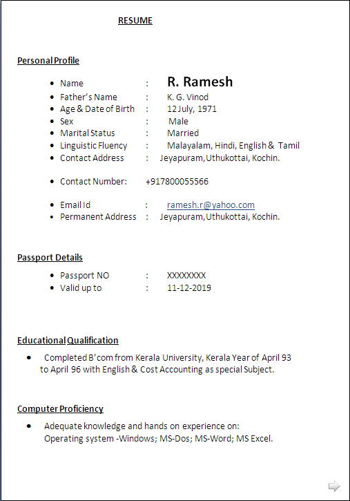 Resume Formats Sample Of Cv A Commerce Graduate Having 20 Years Rich Experiance As Branch In Charge