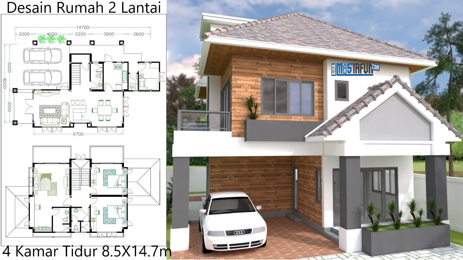 Desain Rumah Modern Minimalis 2 Lantai 4 Kamar 8x14m