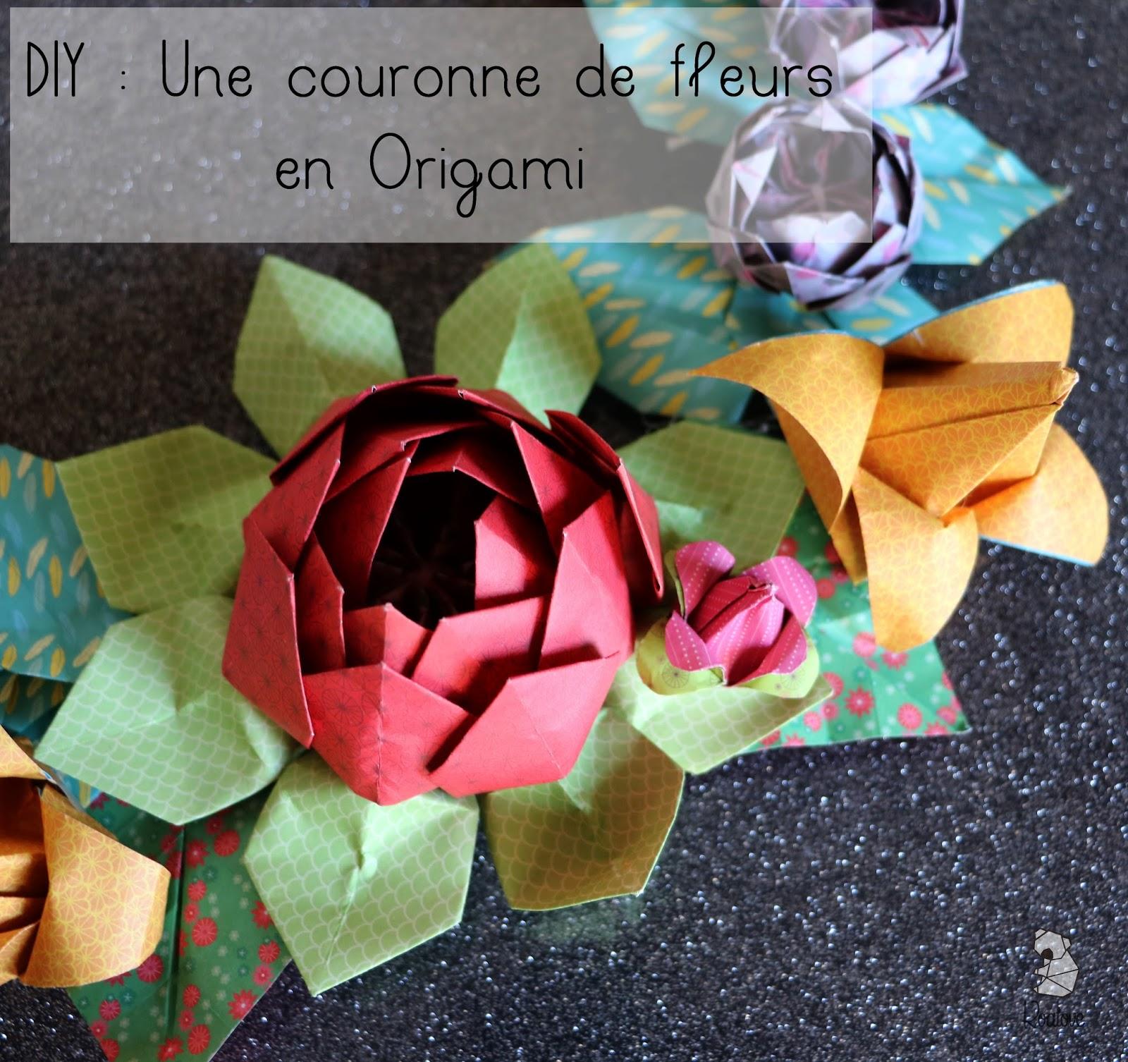 koalove diy une couronne de fleurs en origami. Black Bedroom Furniture Sets. Home Design Ideas