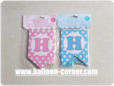 Bunting Flag Segilima HAPPY BIRTHDAY Warna Pink Biru Polkadot