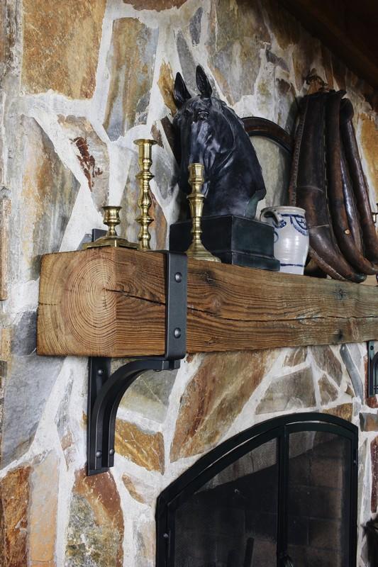 log-cabin-stone-fireplace-rustic-reclaimed-beam-mantel-steel-bracket-band