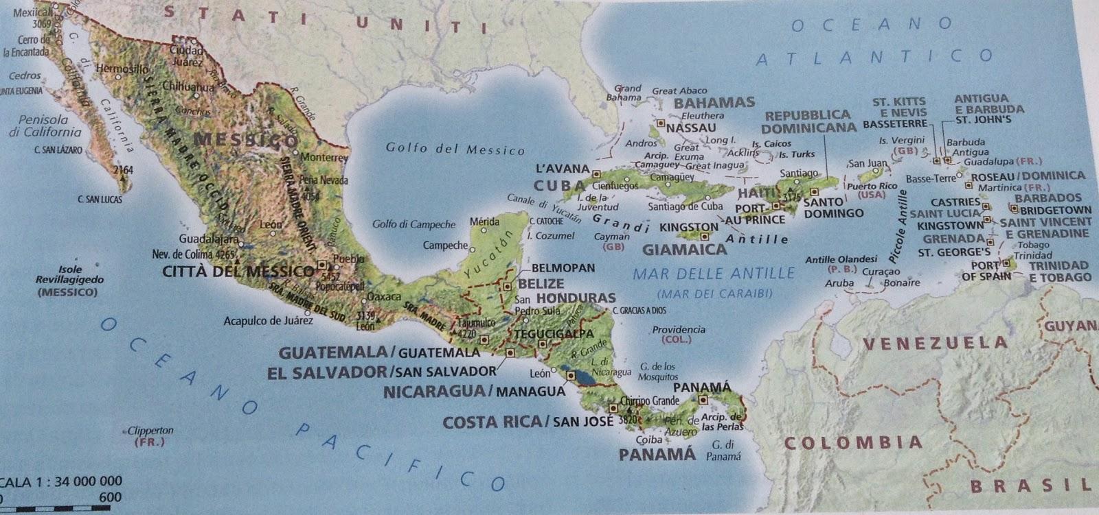 Cartina Fisica Dell America Centrale.Scuolatest Domande Di Geografia Sull America Centrale
