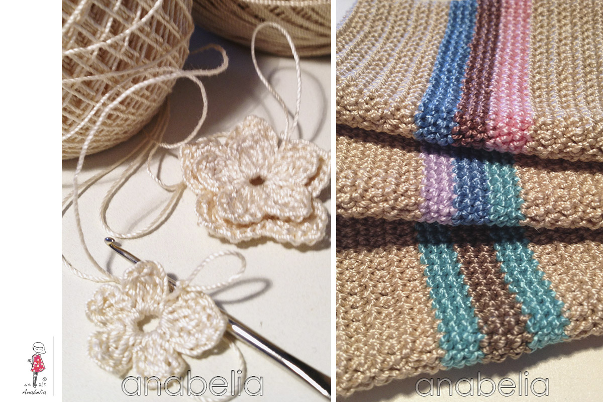 Crochet flowers and color stripes