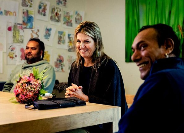 Queen Maxima of The Netherlands visited the Parnassia Psychiatric Institute (Parnassia Groep). Natan dress