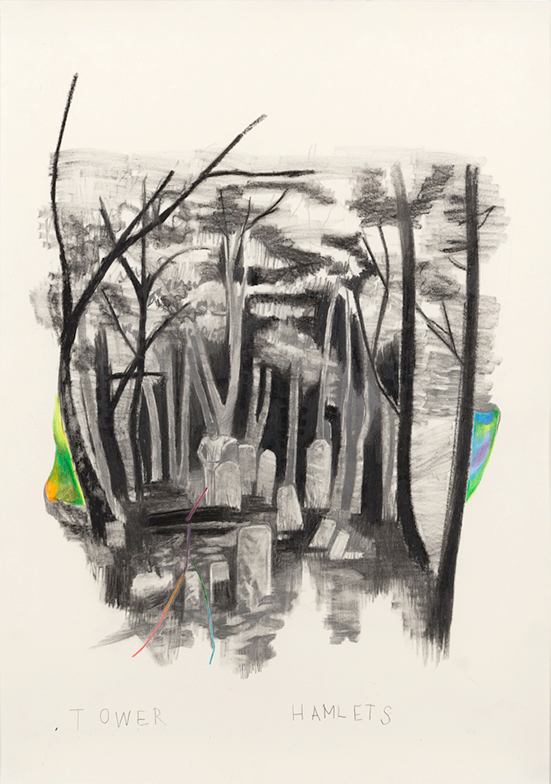 Marc Bauer Tower Hamlets, 2017 Pencil, color pen and black lithographic pen on paper  74 x 53.5 cm