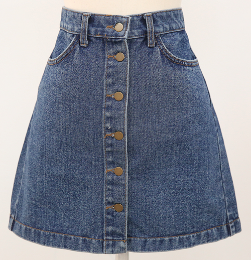 Buttoned Front Denim Mini Skirt
