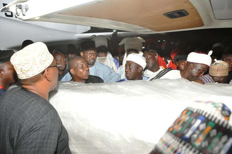 Photos: Body of late Niger State governor Abdulkadir Abdullahi Kure arrives Nigeria