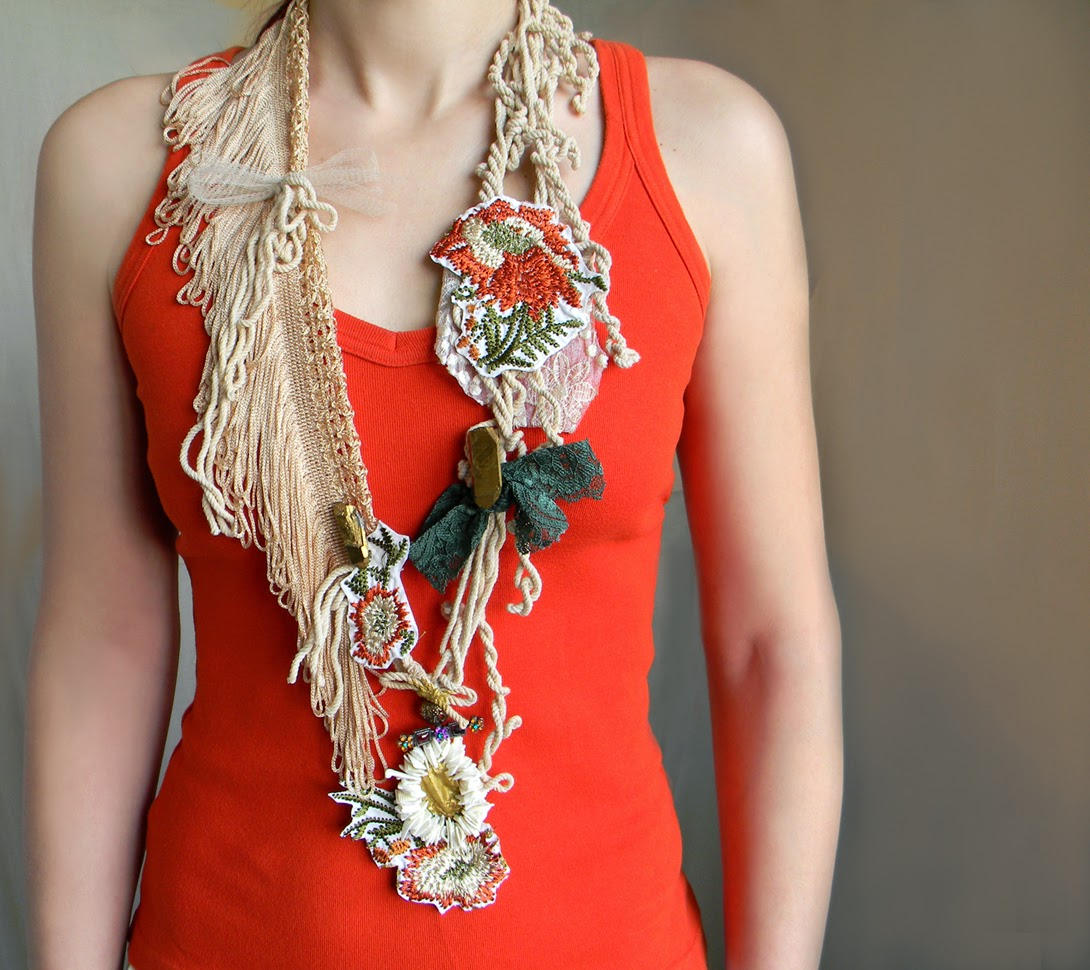 Fiber Art Textile necklace, Shabby Eco Organic inspired, long necklace with raw crystal points in gold