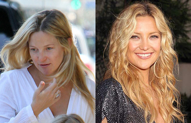 Kate Hudson with n without makeup