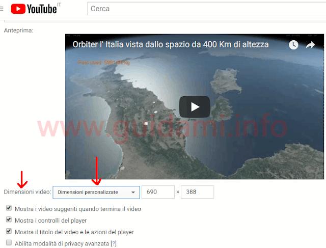 YouTube codice incorporamento video con opzione dimensioni personalizzate