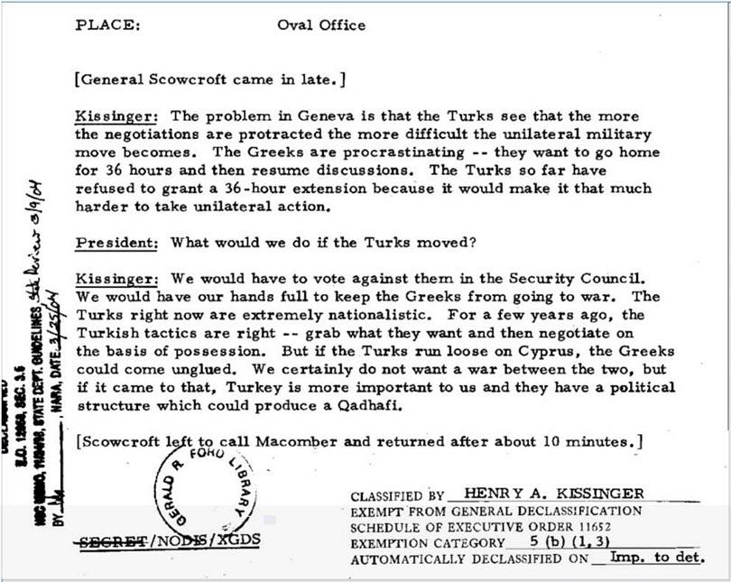έγγραφα φωτιά για το ρόλο Κίσινγκερ στην τουρκική εισβολή στην Κύπρο - 2