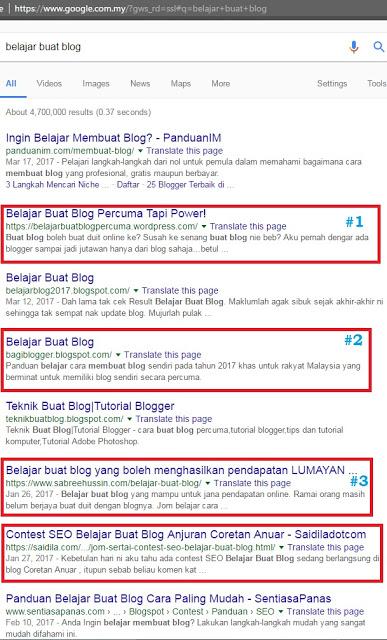 Pemenang Contest SEO Belajar Buat Blog