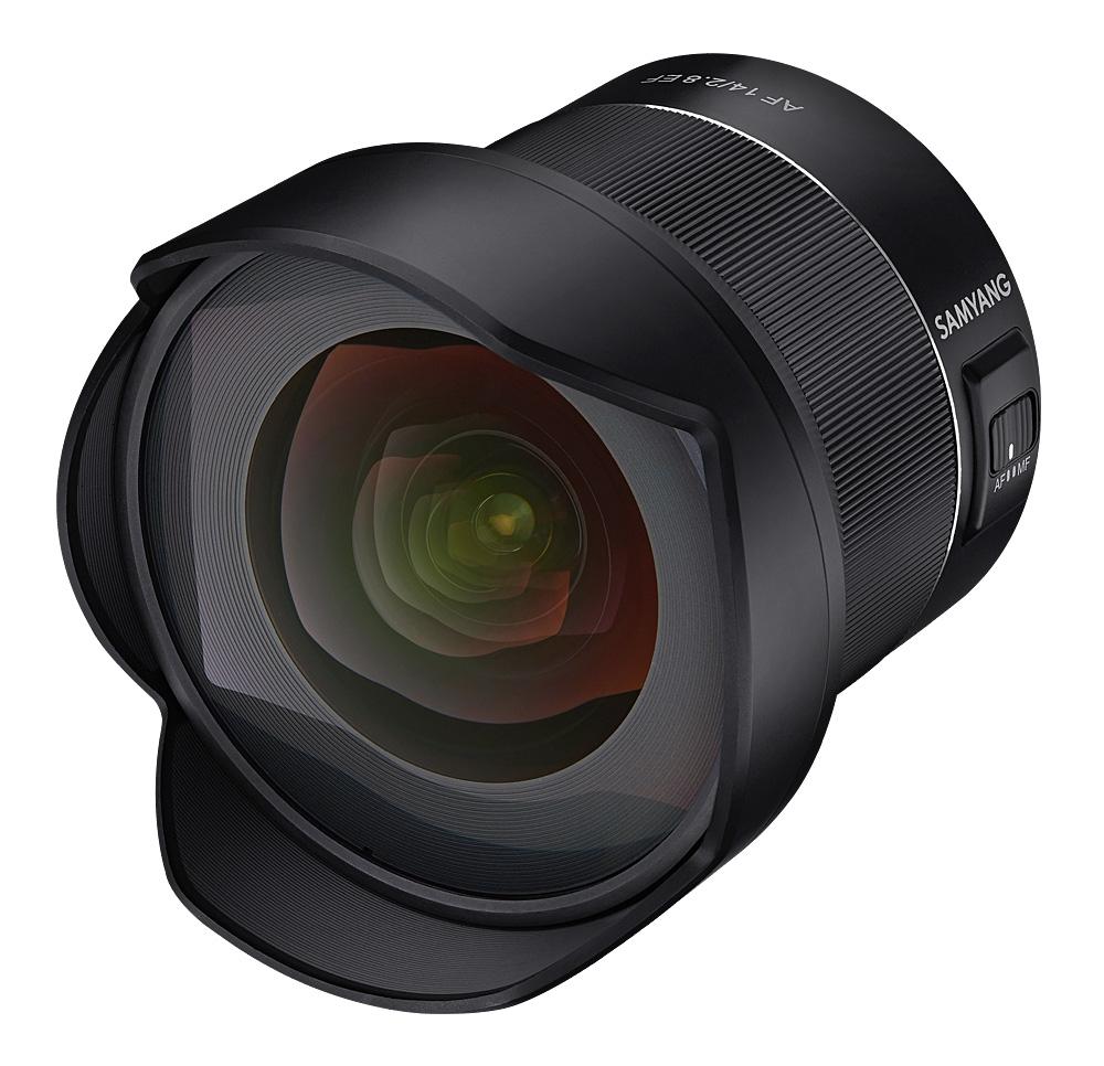 Samyang AF 14mm f/2.8 EF, вид спереди