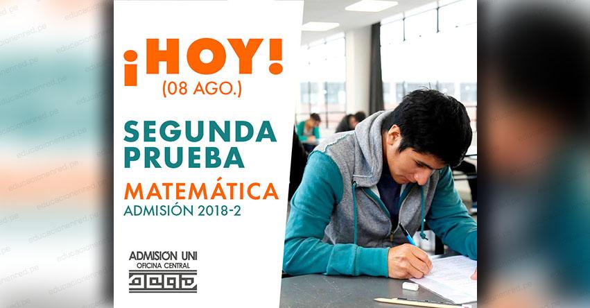 Resultados UNI 2018-2 (Miércoles 8 Agosto) Prueba de Matemática - Aprobados Examen Admisión - Universidad Nacional de Ingeniería - www.uni.edu.pe