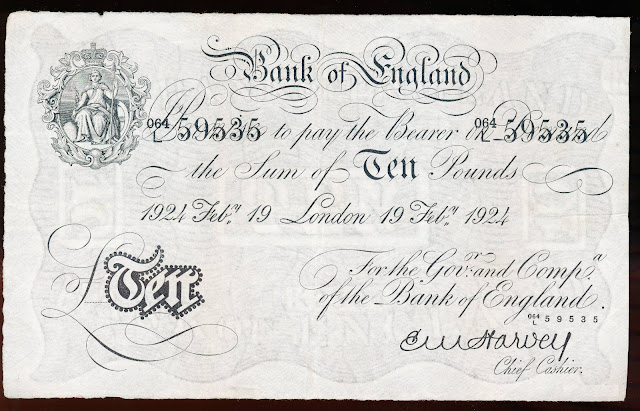 Great Britain 10 Pound Sterling White Note 1924 Bank of England