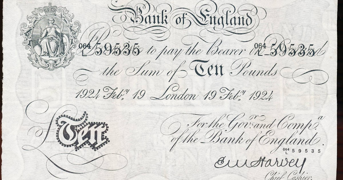 Great Britain 10 Pound Sterling White Note 1924 Bank of