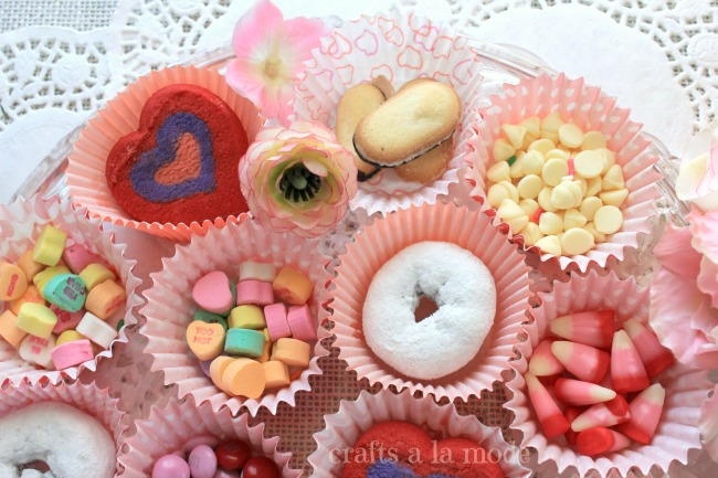 Valentine cookies and cupcakes in cupcake liners