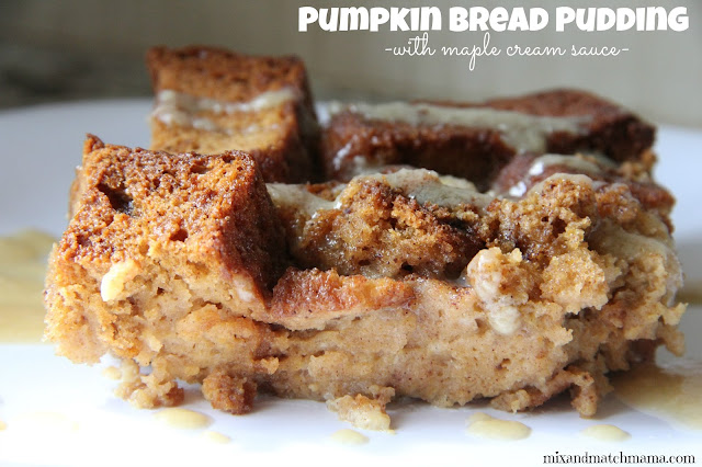 Pumpkin Bread Pudding with Maple Cream Sauce