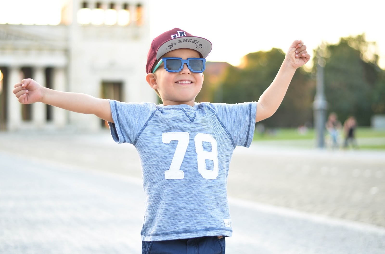 toddler boy style outfit cap tshirt sunglasses