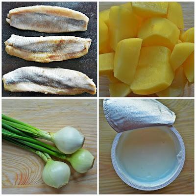 Świąteczna sałatka śledziowa z ziemniakami, cebulą i szczypiorem - składniki
