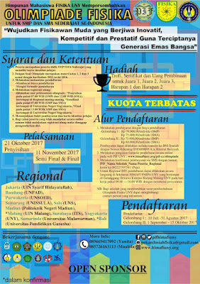Olimpiade Fisika 2017 for SMP/SMA Sederajat by UNY
