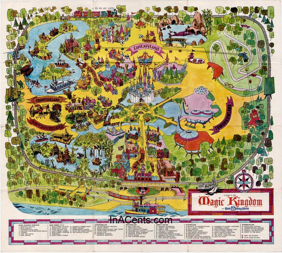 Mapa do Magic Kingdom da época de sua inauguração em 1971