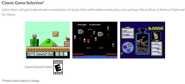 Classic Game Selection Nintendo Switch added online play Super Mario Bros. 3 Balloon Fight Dr. Mario