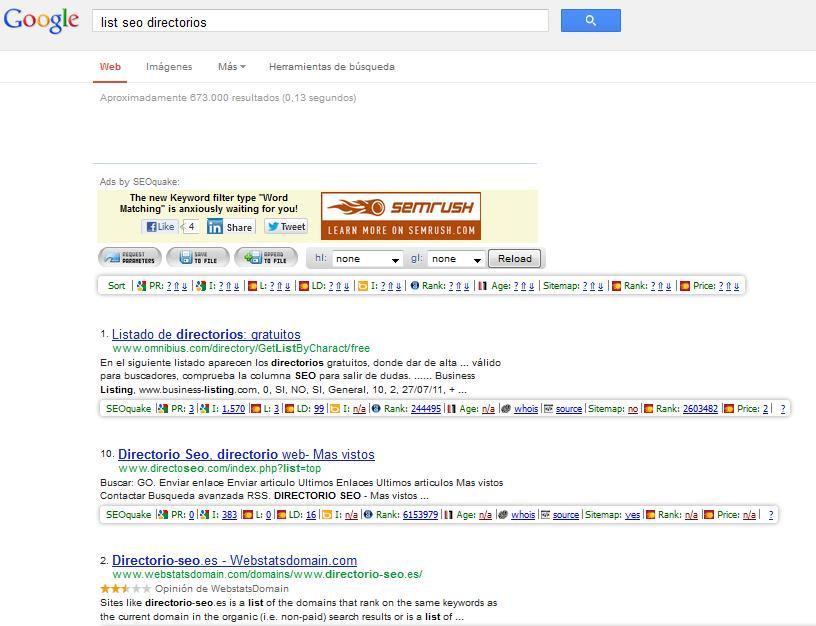 Obtener más backlinks o enlaces entrantes en directorios, clasificados por pagerank usando seoquake
