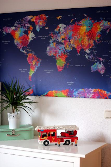 Wandbild mit Weltkarte von bimago.de