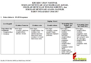 Download Kisi-Kisi Soal UN/UNAS 2017 Jenjang SMA Gratis