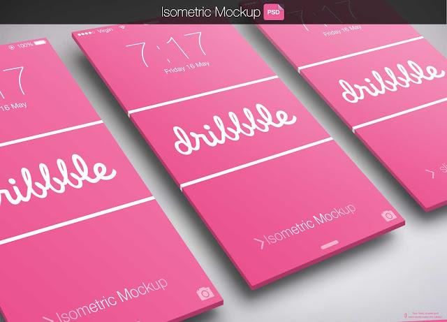 Isometric App PSD Mockup