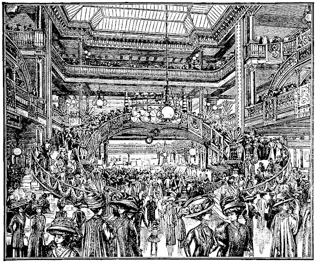 a 1911 shopping mall interior illustration