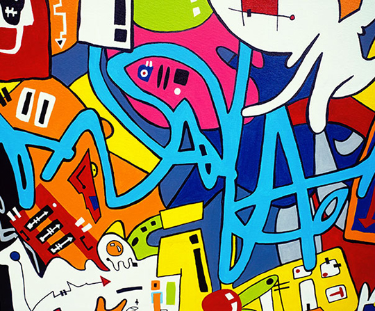 painting, abstract painting, contemporary art, modern art, graffiti painting, multi coloured painting, Sam Freek,