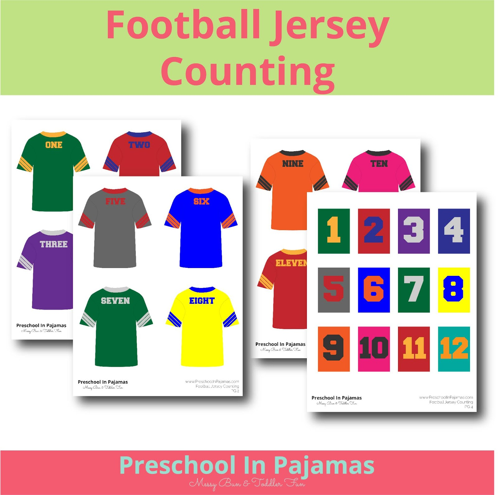 Free Football Jersey Counting Printable Game