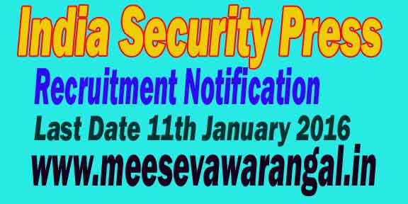 India Security Press Recruitment Notification