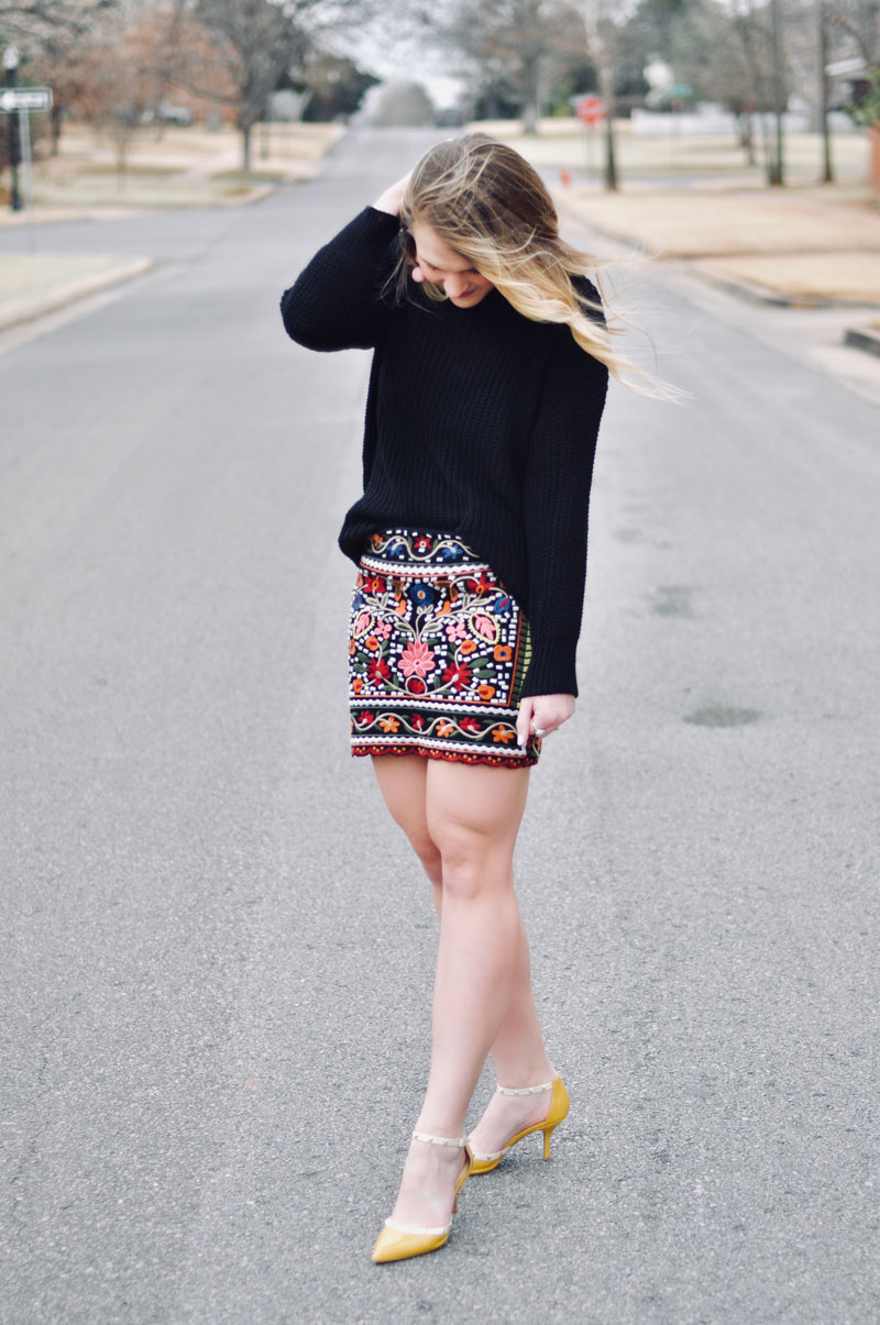 embroidered skirt outfit