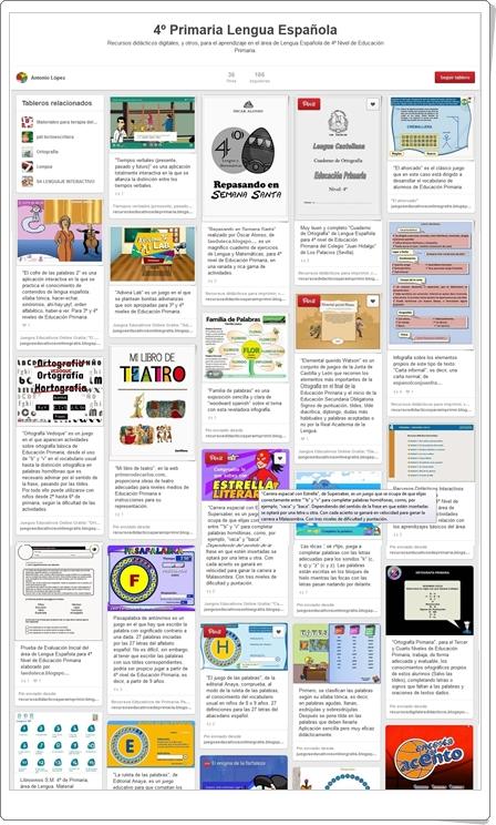 Conjunto de juegos y actividades de Lengua de 4º de Primaria