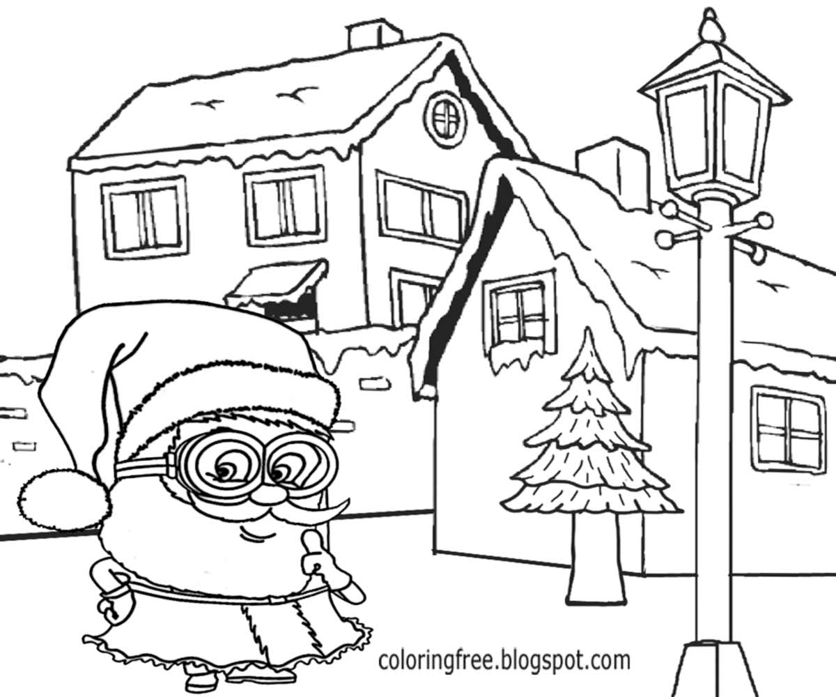 coloring minion pages with santa - photo#35