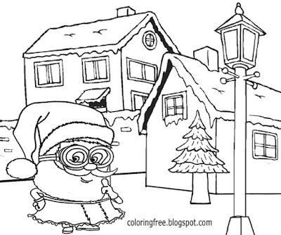 Wintry weather parish Santa claws printable happy Christmas Minions picture book pages for teenagers