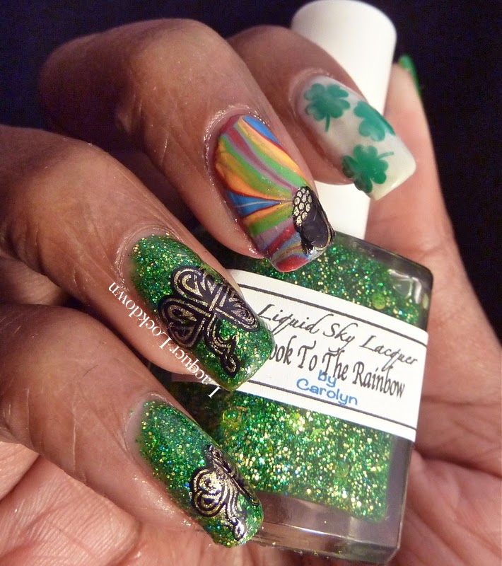 Lacquer Lockdown - Messy Mansion MM04, MM04, Love Angeline Stuck on Love Clovers, Mundo de Unas #2, Liquid Sky Lacquer Head To The Rainbow, Essie Marshmellow, stamping, nail art, pueen 2014, Messy Mansion, watermarble, St. Patrick's Day, St. Patty's Day, nail art, nail art ideas, diy nail art, diy nails, essy nail art, advanced stamping,
