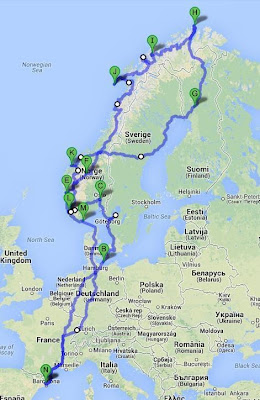 TRAVEL ROUTE NORUEGA FINLANDIA Y SUECIA 2012