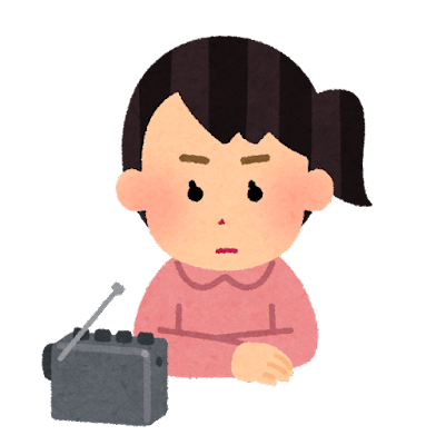 真剣な顔でラジオを聴く人のイラスト(女性)