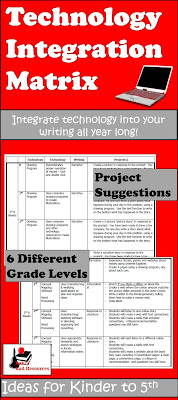 Free technology integration project matrix - teach writing and computer skills at the same time with these project ideas from Raki's Rad Resources.