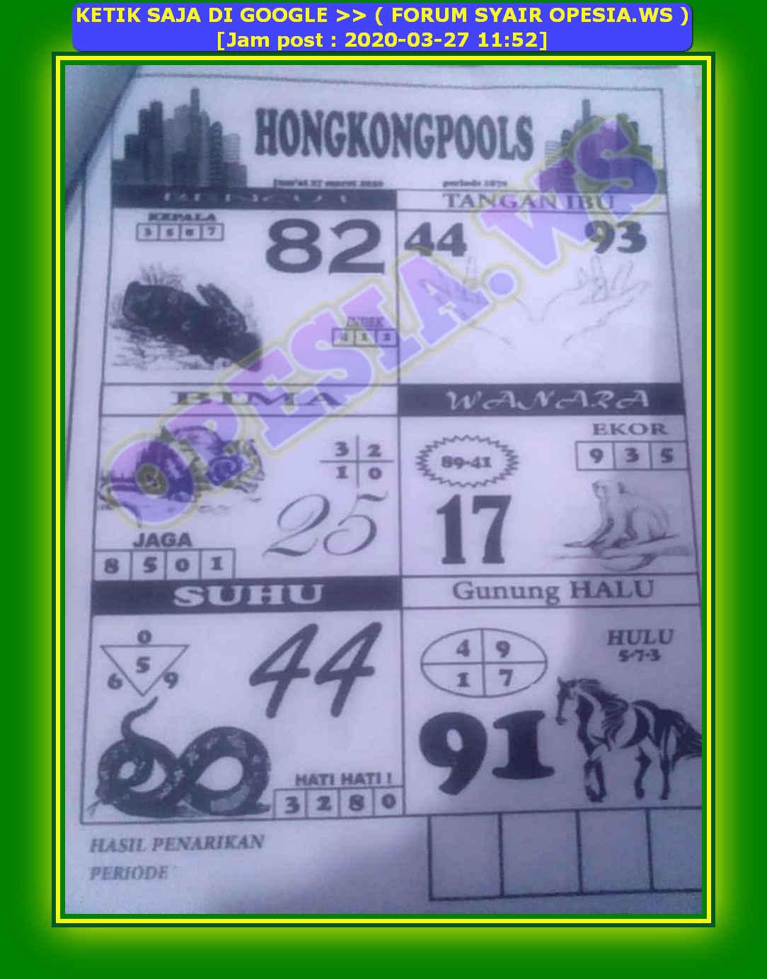 Kode syair Hongkong Jumat 27 Maret 2020 41