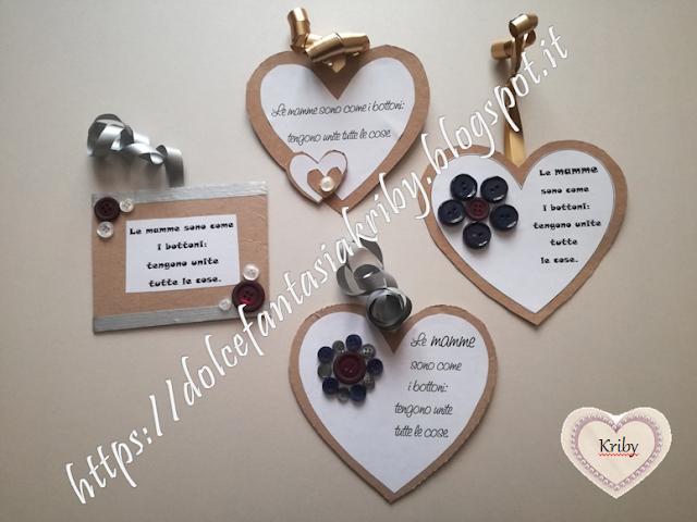 riciclo creativo con cartone e bottoni per la festa della mamma