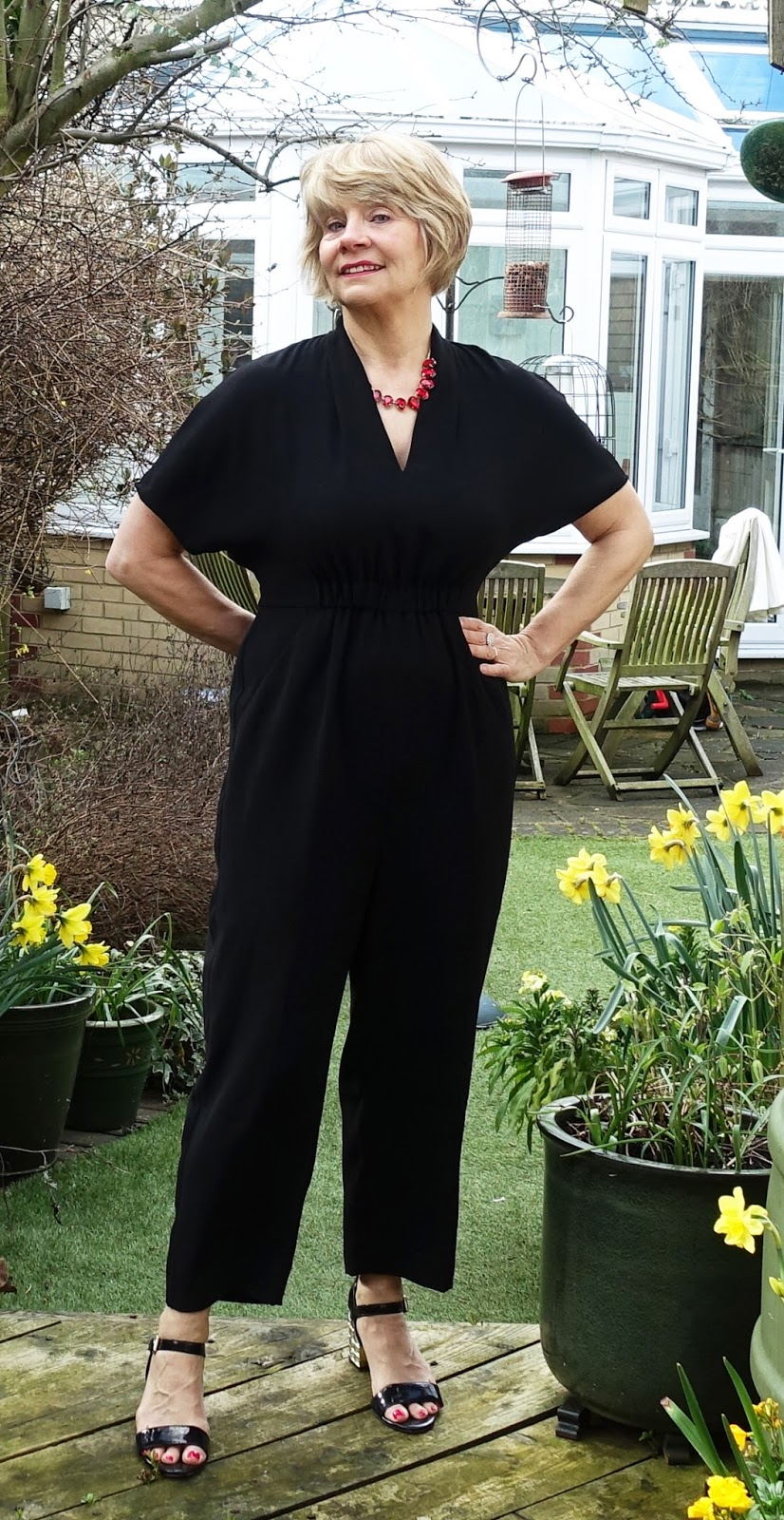 Image showing over 45s blogger Gail Hanlon in black crepe jumpsuit from Whistles. S