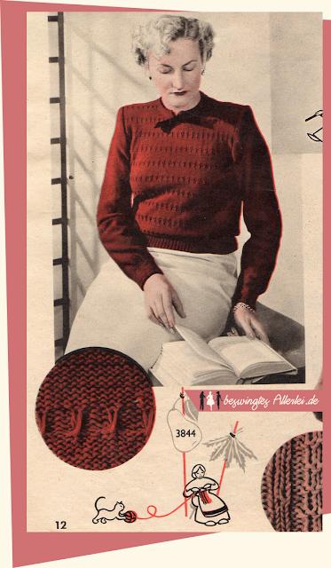 The Vintage Pattern Files: Free 1950s Knitting Pattern - Damenpullover in großer Größe von