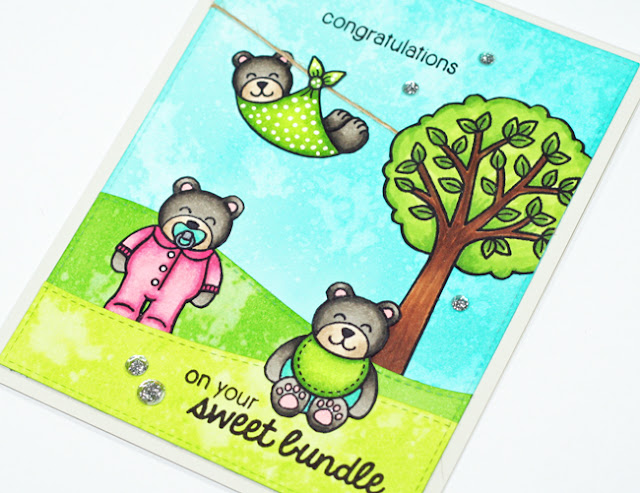 Sunny Studio Stamps: Sweet Bundle Baby Card by Stephanie Klauck (using Baby Bear & Summer Picnic)