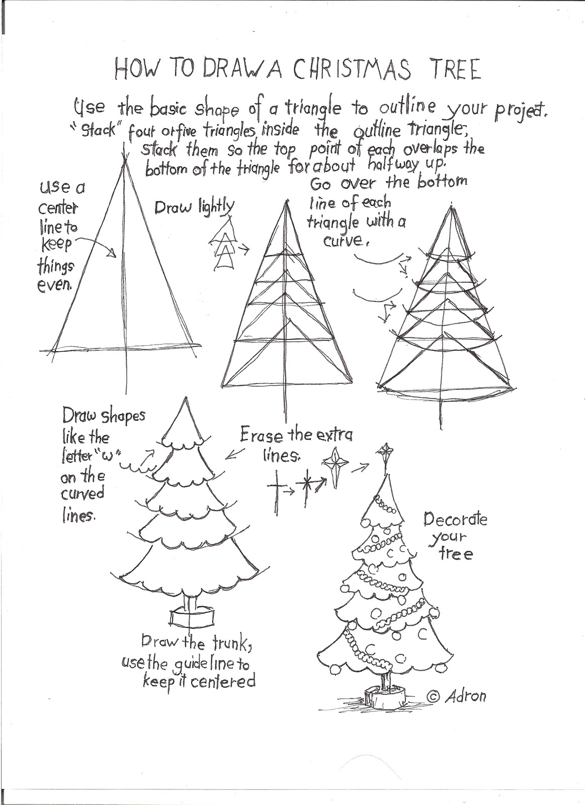 How To Draw Worksheets For The Young Artist How To Draw A Christmas Tree Worksheet
