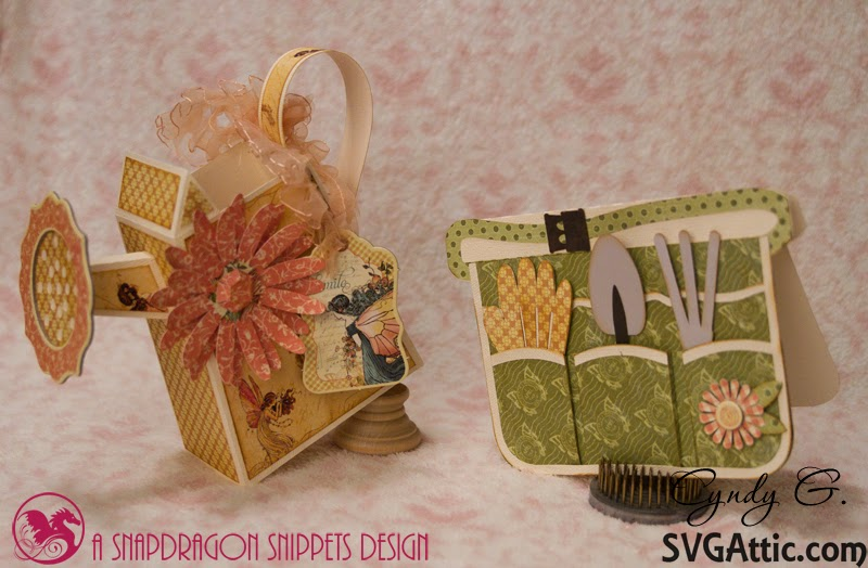 3d Paper watering can and garden apron card